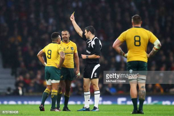 Kurtley Beale of Australia is shown a yellow card during the Old Mutual Wealth Series match between England and Australia at Twickenham Stadium on...