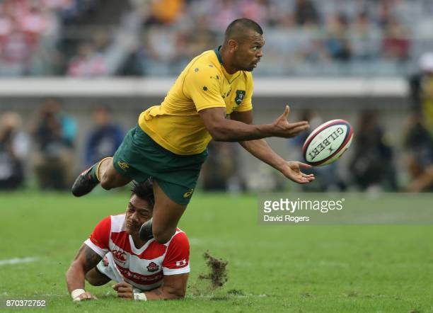 Kurtley Beale of Australia passes the ball during the rugby union international match between Japan and Australia Wallabies at Nissan Stadium on...