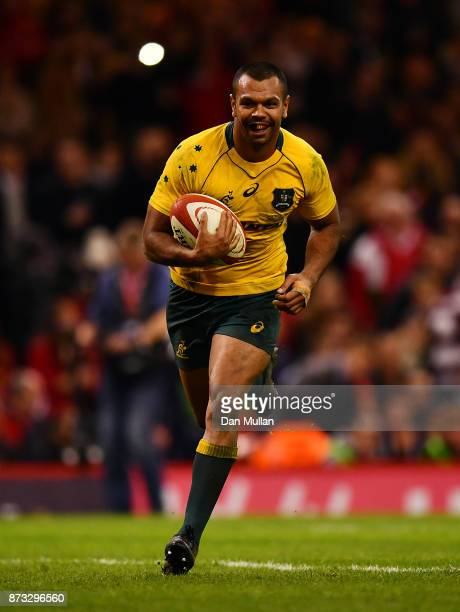 Kurtley Beale of Australia runs in to score his side's fourth try during the Under Armour Series 2017 match between Wales and Australia at the...