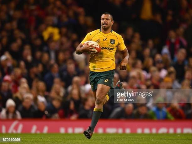 Kurtley Beale of Australia touches down for the fourth try during the Under Armour Series match between Wales and Australia at Principality Stadium...