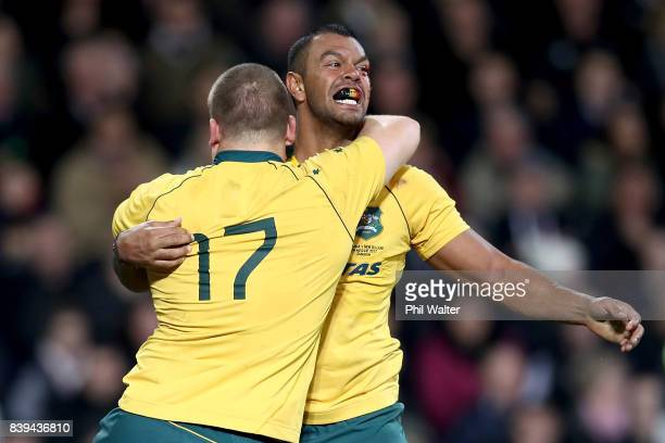 Kurtley Beale of the Wallabies celebrates a try during The Rugby Championship Bledisloe Cup match between the New Zealand All Blacks and the...