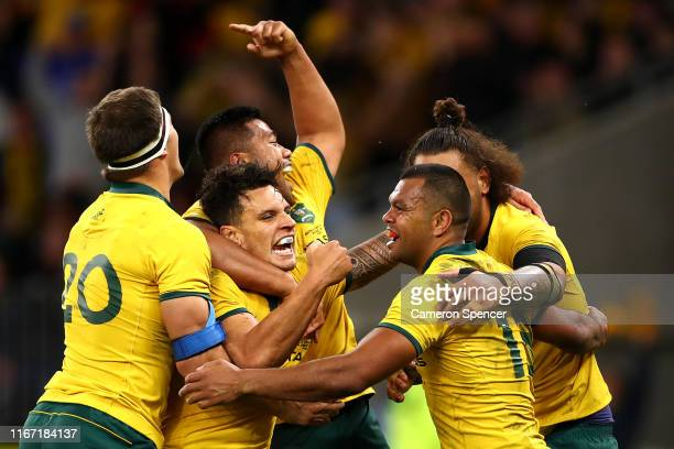Kurtley Beale of the Wallabies celebrates scoring a try with team mates during the 2019 Rugby Championship Test Match between the Australian...