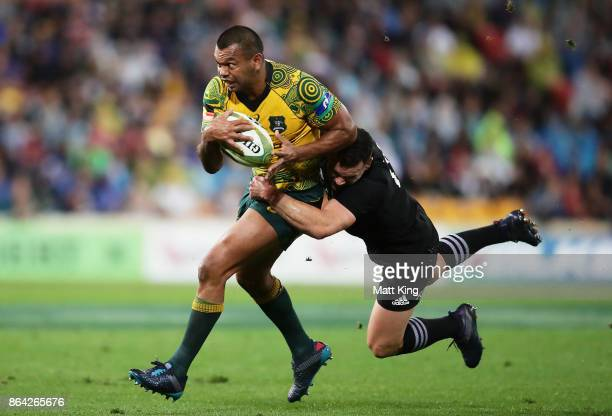 Kurtley Beale of the Wallabies is tackled by Ryan Crotty of the All Blacks during the Bledisloe Cup match between the Australian Wallabies and the...