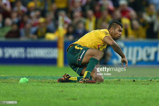 Kurtley Beale of the Wallabies looks up after falling while missing an attempted shot at goal in the last minute during the First Test match between...