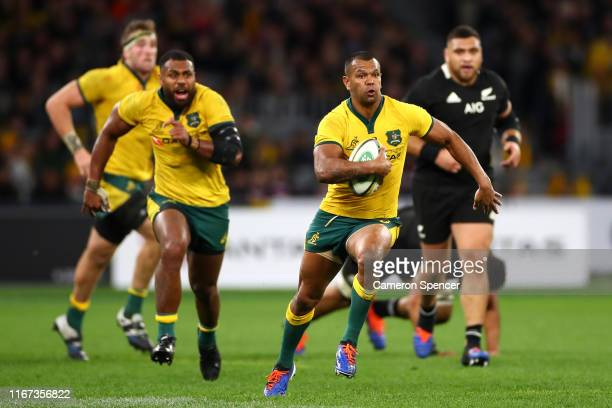 Kurtley Beale of the Wallabies makes a break during the 2019 Rugby Championship Test Match between the Australian Wallabies and the New Zealand All...