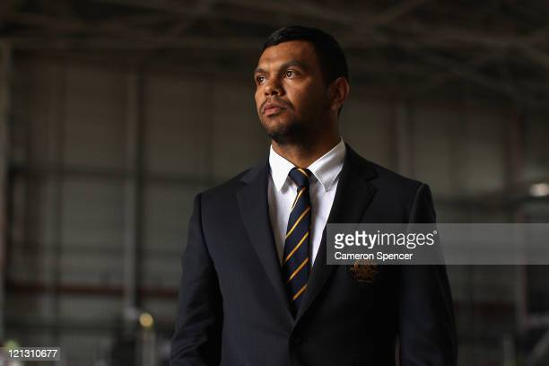 Kurtley Beale of the Wallabies poses during an Australian Wallabies 2011 Rugby World Cup Squad portrait session at Sydney International Airport on...
