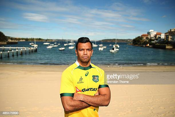 Kurtley Beale of the Wallabies poses following an Australian Wallabies training session at Little Manly Beach on August 28 2015 in Sydney Australia
