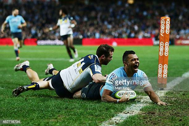 Kurtley Beale of the Waratahs celebrates scoring a try during the Super Rugby Semi Final match between the Waratahs and the Brumbies at Allianz...