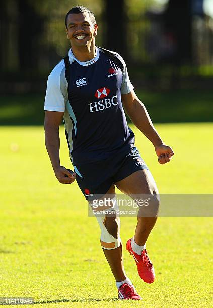 Kurtley Beale of the Waratahs smiles during a Waratahs Super Rugby training session at Moore Park on May 12 2011 in Sydney Australia