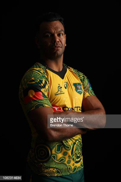 Kurtley Beale poses during a Rugby Australia Wallabies Indigenous Jersey Media Opportunity at Moore Park on October 17 2018 in Sydney Australia