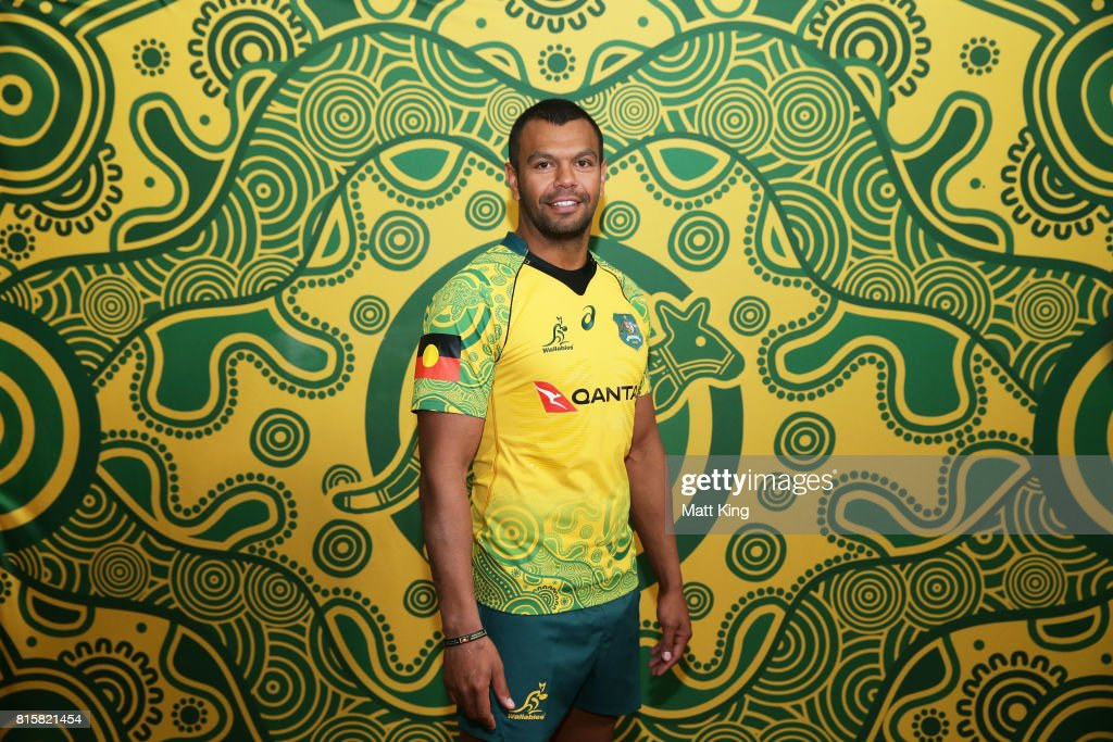 Kurtley Beale poses during the Wallabies Indigenous Jersey Launch at the National Centre of Indigenous Excellence on July 17, 2017 in Sydney, Australia.