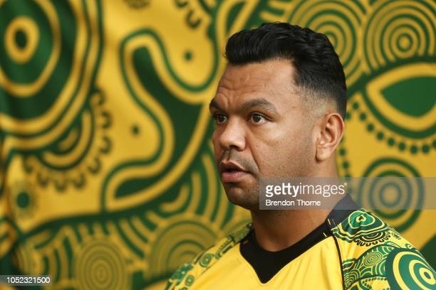 Kurtley Beale speaks during a Rugby Australia Wallabies Indigenous Jersey Media Opportunity at Moore Park on October 17 2018 in Sydney Australia