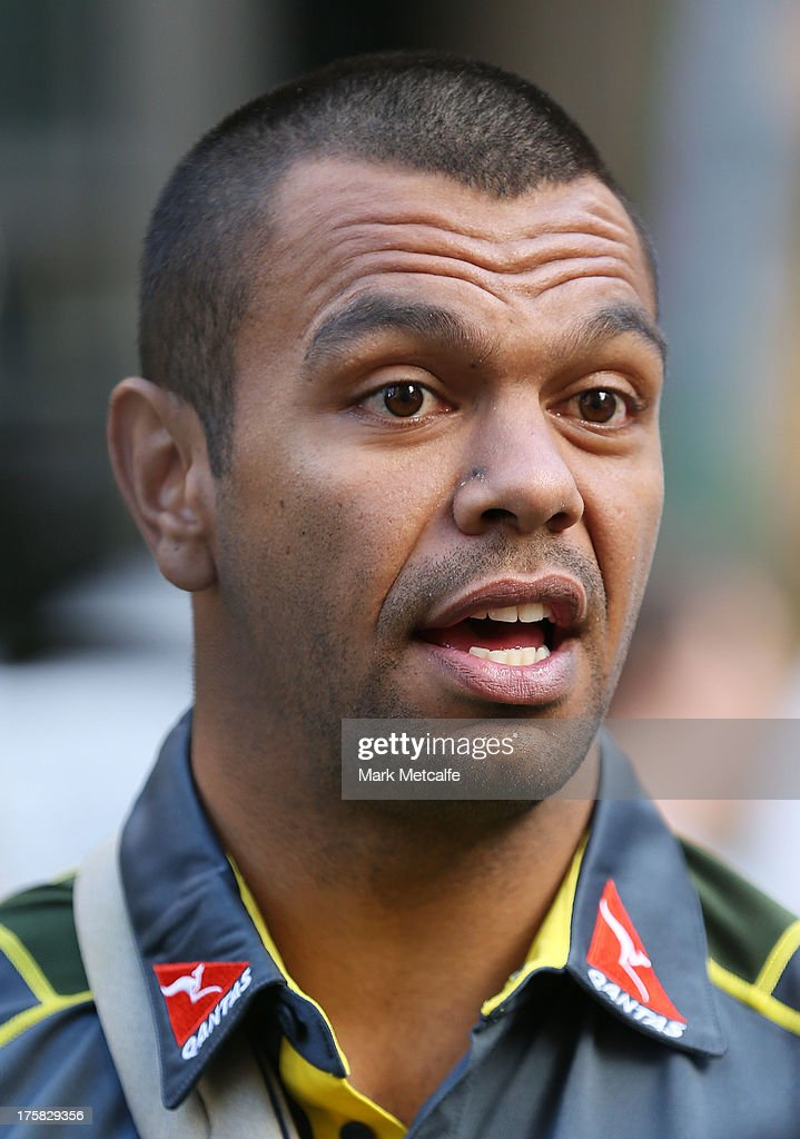 Kurtley Beale speaks to the media during the Australian Wallabies Bledisloe Cup launch at the Museum of Sydney on August 9, 2013 in Sydney, Australia.