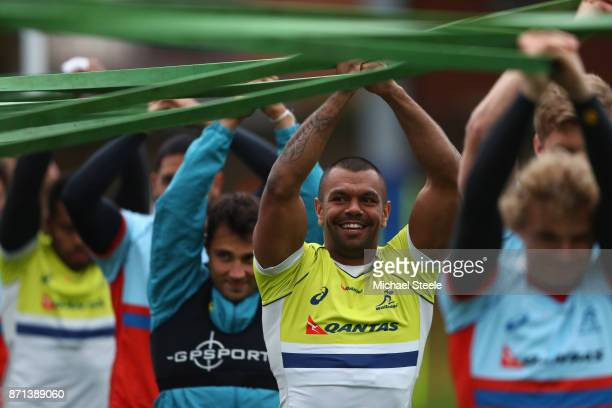 Kurtley Beale stretches out during the Australia training session at Sport Wales on November 7 2017 in Cardiff Wales