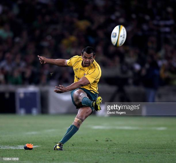 Kurtley Beale the Wallaby fullback kicks the last minute match winning penalty during the 2010 TriNations match between the South African Springboks...