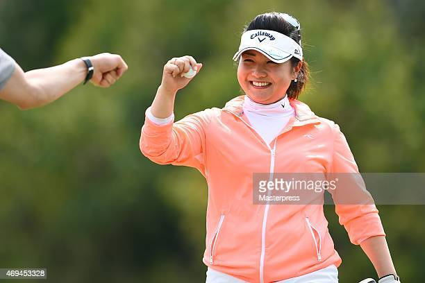 Kurumi Dohi of Japan celebrates after birdie on the 17th hole during the final round of the Studio Alice Open at the Hanayashiki Golf Club Yokawa...