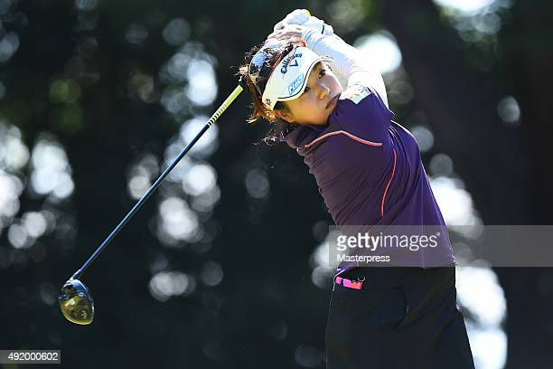 Kurumi Dohi of Japan hits her tee shot on the 11th hole during the first round of Stanley Ladies Golf Tournament at the Tomei Country Club on October...
