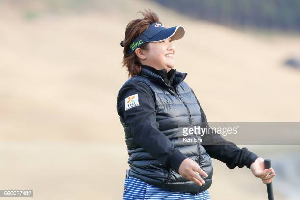 Kurumi Dohi reacts after her putt on the 18th hole in her playoff with Eri Fukuyama during the final round of the Rashink Nijinia/RKB Ladies at the...
