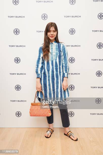 Kurumi Emond attends the Tory Burch Ginza Boutique Opening on April 02 2019 in Tokyo Japan