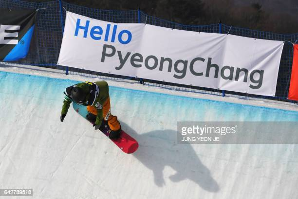 Kurumi Imai of Japan competes during the women's halfpipe final in the FIS Snowboard World Cup at Phoenix Snow Park in Pyeongchang on February 19...