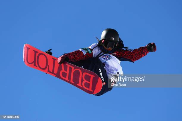 Kurumi Imai of Japan competes during the Women's Snowboard Halfpipe Qualification on day three of the FIS Freestyle Ski and Snowboard World...