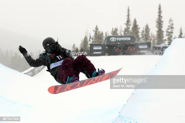 Kurumi Imai of Japan competes in a qualifying round of the FIS Snowboard World Cup 2018 Ladies' Snowboard Halfpipe during the Toyota US Grand Prix on...