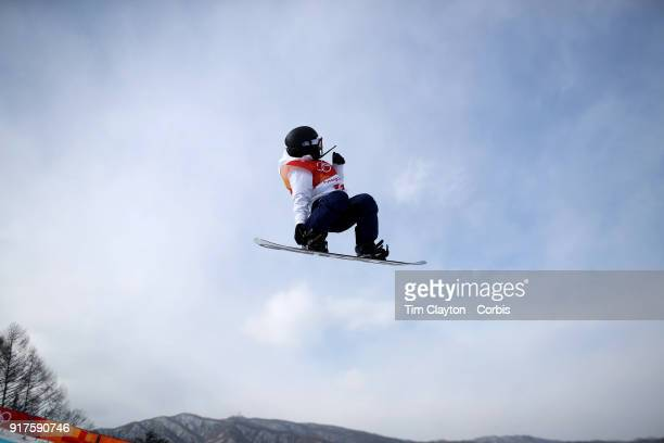 Kurumi Imai of Japan in action during the Snowboard Ladies' Halfpipe qualification competition at Phoenix Snow Park on February 12 2018 in...
