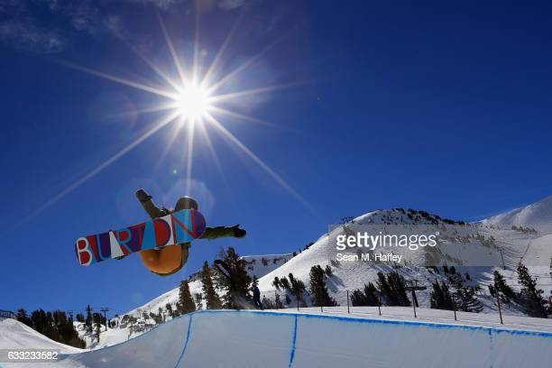 Kurumi Imai of Japan takes a practice run during the FIS Snowboard World Cup 2017 Ladies' Snowboard Halfpipe during the Toyota US Grand Prix at...