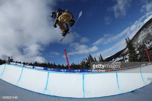 Kurumi Imai of Japan warms up before competing in the Ladies' Snowboard Halfpipe Finals at the 2018 US Grand Prix at Copper Mountain on December 8...