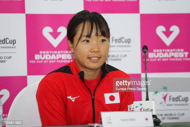 Kurumi Nara of Japan attends during tht press conference after lossing her match against Carla Suarez of Spain during the Fed Cup, group round,...