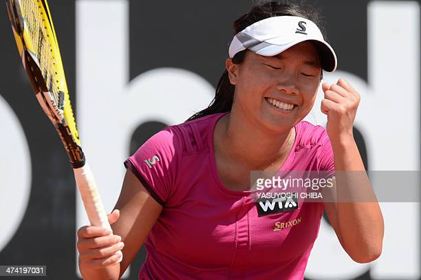 Kurumi Nara of Japan celebrates after defeating Nastassja Burnett of Italia in their 2014 Rio Open women's semifinal singles tennis match in Rio de...