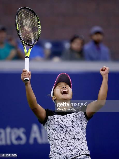 Kurumi Nara of Japan celebrates defeating Svetlana Kuznetsova of Russia during their second round Women's Singles match on Day Four of the 2017 US...
