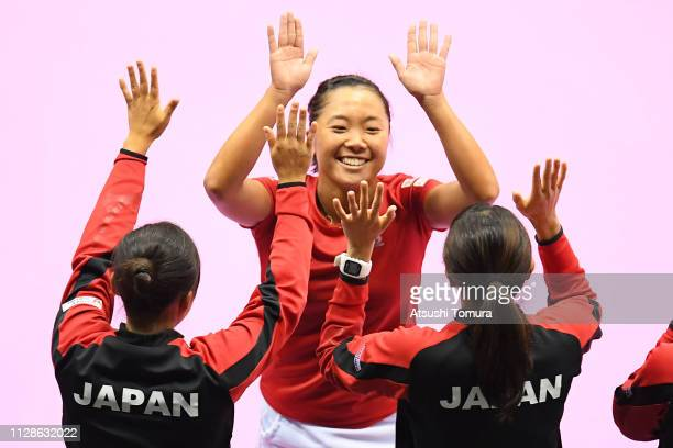 Kurumi Nara of Japan celebrates victory in her Women's Singles match against Silvia SorlerEspinosa of Spain on day two of the Fed Cup World Group II...