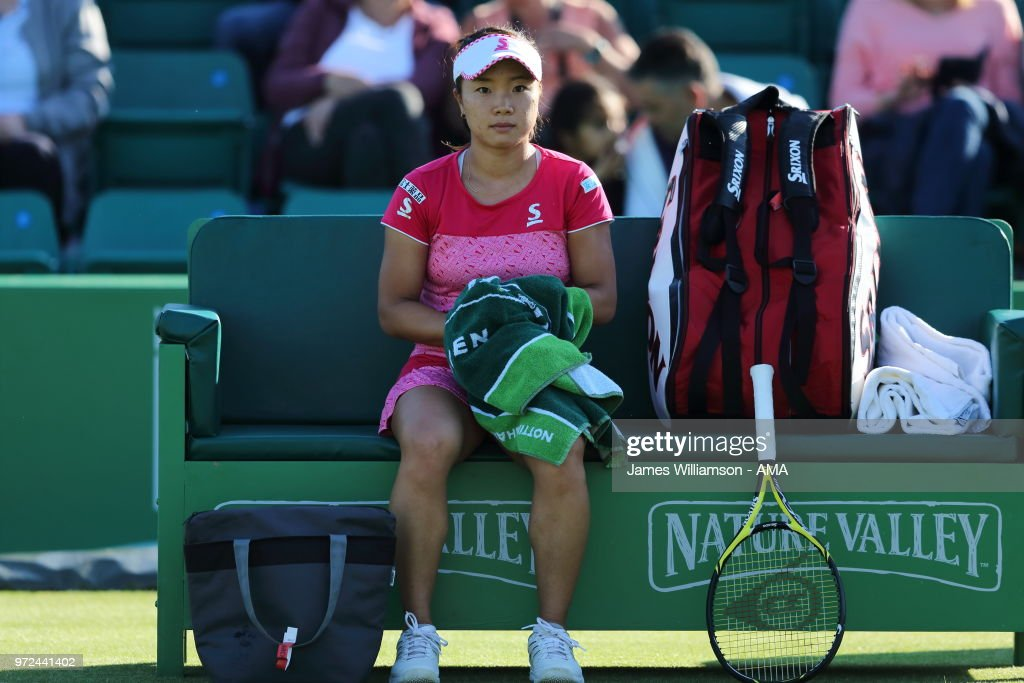 Kurumi Nara of Japan during Day 4 of the Nature Valley open at Nottingham Tennis Centre on June 12, 2018 in Nottingham, England.