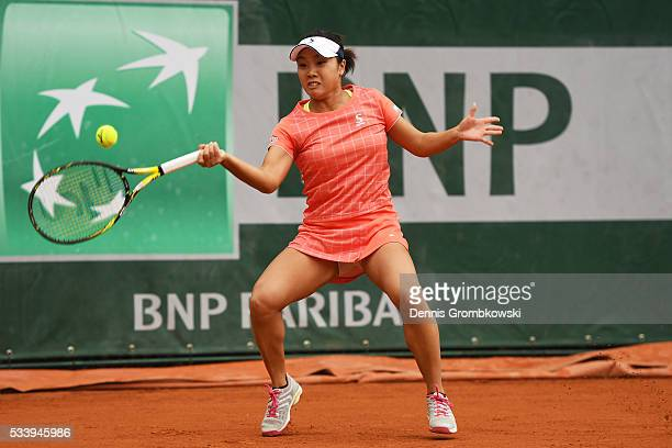 Kurumi Nara of Japan hits a forehand during the Ladies Singles first round match against Denisa Allertova of Czech Republic on day three of the 2016...