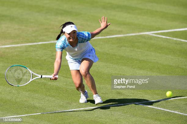 Kurumi Nara of Japan in action against Catherine McNally of USA in qualifying during the Viking Classic Birmingham at Edgbaston Priory Club on June...