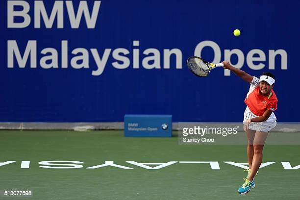 Kurumi Nara of Japan in action during round one of the 2016 BMW Malaysian Open at Kuala Lumpur Golf Country Club on February 29 2016 in Kuala Lumpur...