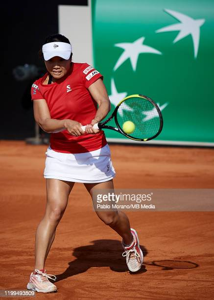 Kurumi Nara of Japan in action in her match against Carla Suarez of Spain during the Fed Cup por BNP Paribas qualifiers second round between Spain...