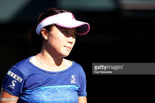Kurumi Nara of Japan looks on in her match against Yulia Putintseva of Kazakhstan during the women's singles match on day one of the Toray Pan...