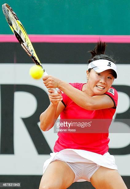 Kurumi Nara of Japan makes a shot during a tennis match between Argentina and Japan as part of the Fed Cup 2014 at Pilara Tennis Club on February 08...