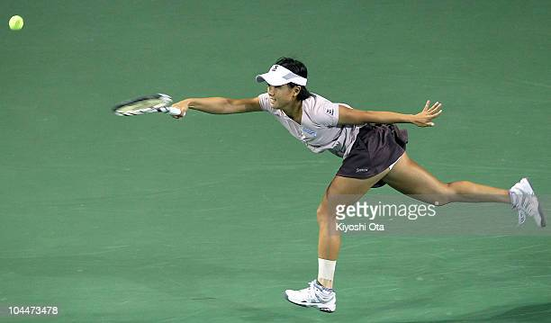 Kurumi Nara of Japan misses a shot in her match against Yaroslava Shvedova of Kazakhstan on day two of the Toray Pan Pacific Open tennis tournament...