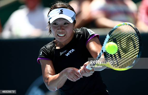 Kurumi Nara of Japan plays a backhand during her quarterfinal match against Ana Ivanovic of Serbia during day four of the ASB Classic at the ASB...