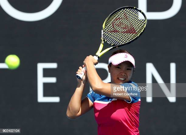 Kurumi Nara of Japan plays a backhand during her singles match against Elise Mertens of Begium during the 2018 Hobart International at Domain Tennis...