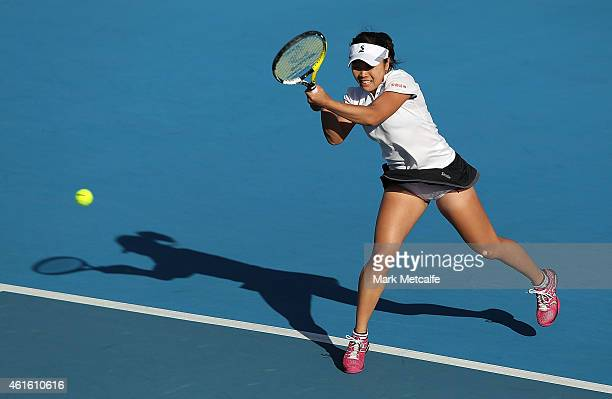 Kurumi Nara of Japan plays a backhand in her semi final match against Madison Brengle of the USA during day six of the 2015 Hobart International at...