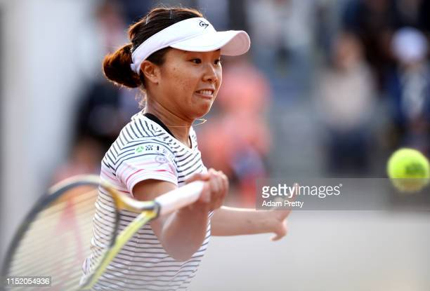 Kurumi Nara of Japan plays a forehand during her ladies singles first round match against Danlila Jakupovic of Slovenia during Day two of the 2019...