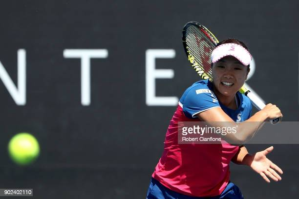 Kurumi Nara of Japan plays a forehand during her singles match against Elise Mertens of Begium the during the 2018 Hobart International at Domain...
