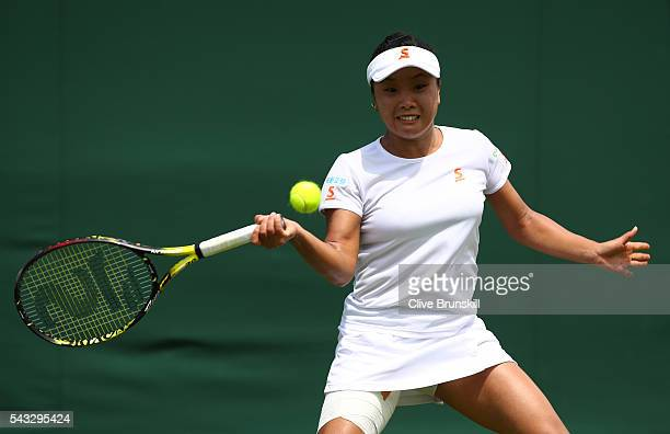 Kurumi Nara of Japan plays a forehand shot during the Ladies first round match against Madison Brengle of The United States on day one of the...