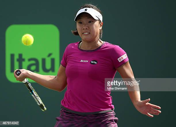 Kurumi Nara of Japan plays a match against Dana Gavrilova of Russia during Day 6 of the Miami Open presented by Itau at Crandon Park Tennis Center on...