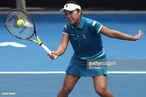 Kurumi Nara of Japan plays a return in her singles match against Lauren Davis of the USA on day three of the ASB Classic on January 4 2017 in...
