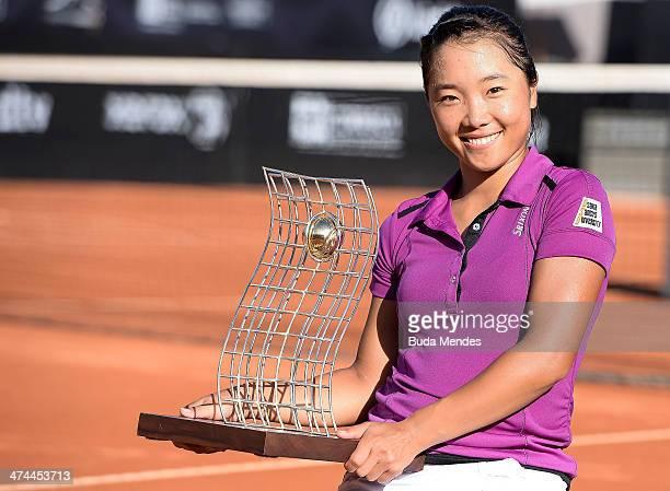Kurumi Nara of Japan pose with her trophy after being defeated to Klara Zakopalova of Czech Republic during the ATP Rio Open 2014 at Jockey Club Rio...
